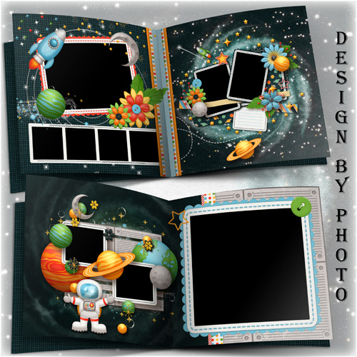 Baby book template psd for a boy - a journey to the moon