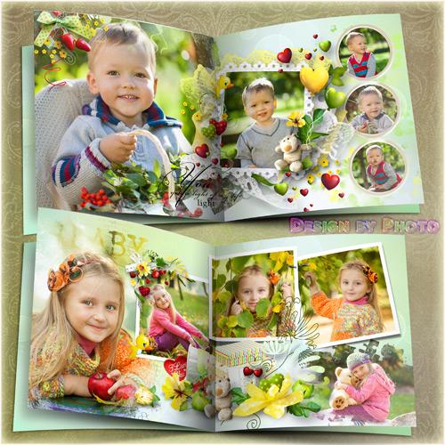 Children photo book template psd - Love you, sun