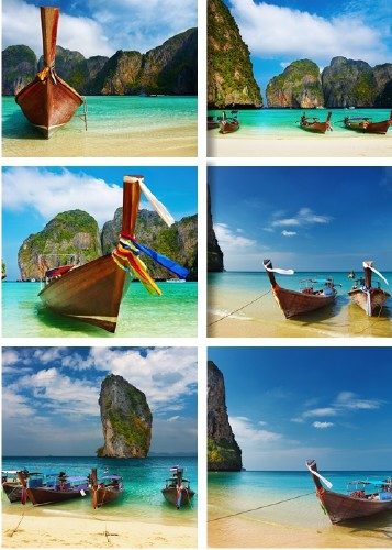 Tropical beaches and boats - Raster clip art