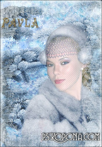 PSD Template For Photoshop - Winter portrait