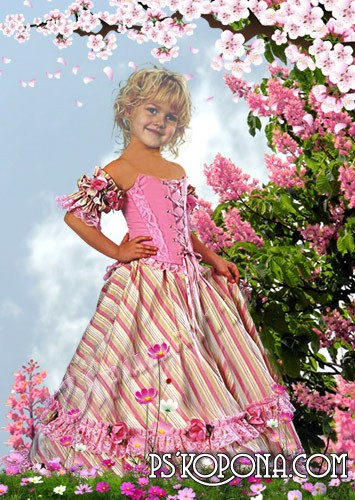 Children's template for photoshop - girl in the garden