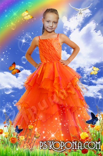 Children's template for photoshop - Bright spring