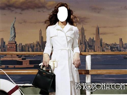 Шаблон для Photoshop – Девушка на пристани