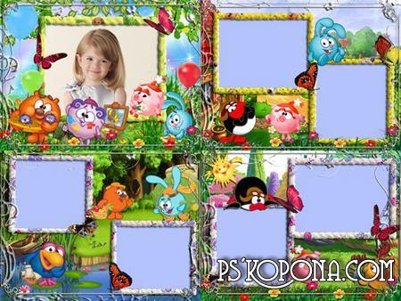 Frames for kids photo - Smeshariki in nature