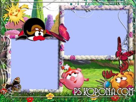 Frames for kids photo - Smeshariki in nature