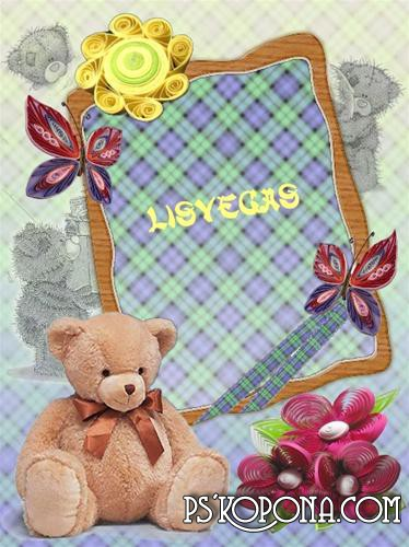 Photoframe - A Bear of Teddi ( free photo frame psd + png free download )