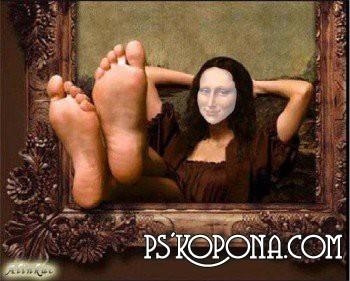 Шаблон для фотошоп - Мона Лиза на отдыхе!