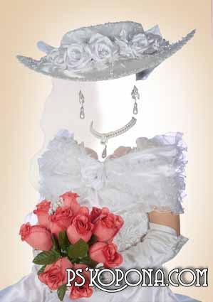 Шаблон для фотомонтажа - Леди в белом