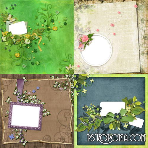 4 Floral Scrap-pages for processing photos