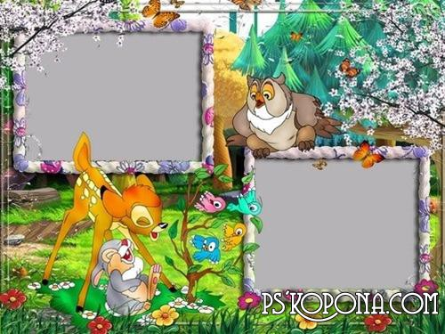 Children's frames for photos from Bambi 2 psd free download