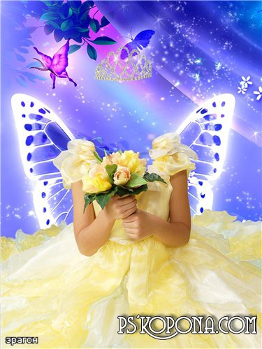 Детский шаблон для фотошопа – Словно бабочка