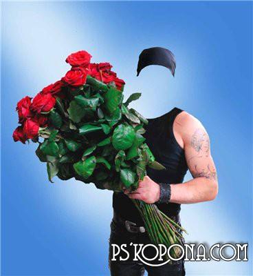Шаблон для фотомонтажа - Джентльмен с цветами