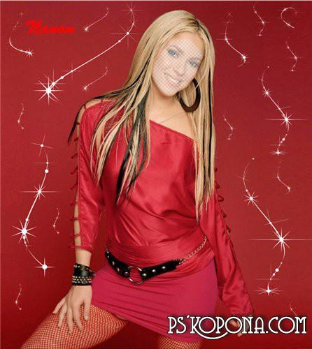 Женский шаблон для фотошоп - Девушка в красном
