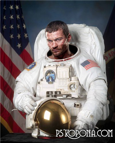 Шаблон для Photoshop - Астронавт
