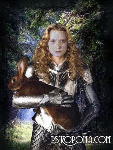 Шаблон для Фотошоп  Женский Дама с кроликом