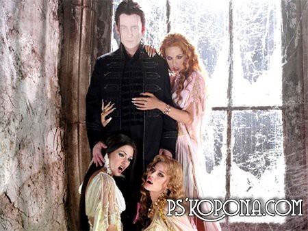 Шаблон для Фотошоп  Дракула и невесты