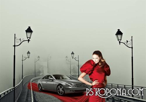женские шаблоны для фотошопа:Дама в красном.
