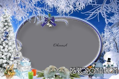 Новогодняя рамка для фотошоп Морозные узоры