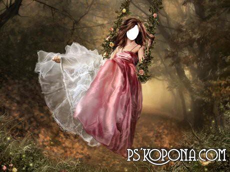 Шаблон для фотошопа - Девушка на качелях
