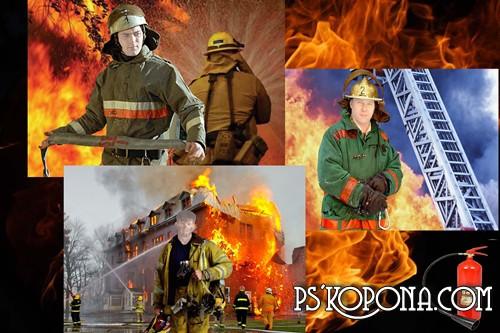 мужской шаблон для фотошоп: Пожарные.