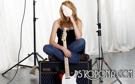 Шаблон для Фотошопа - Девушка с гитарой