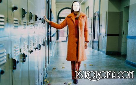 Шаблондля Фотошопа - Девушка в пальто