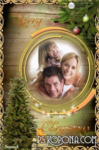 psd Frame – postcard Merry christmas download