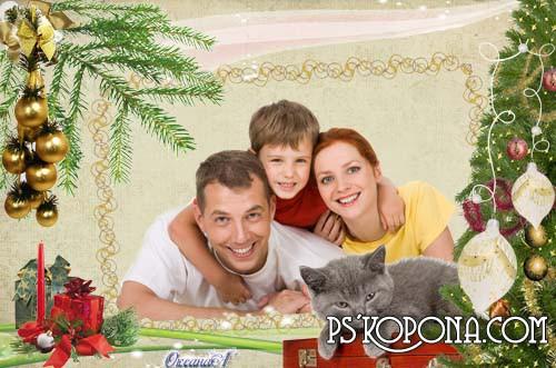 Новогодняя рамка для фотошоп Серый кот