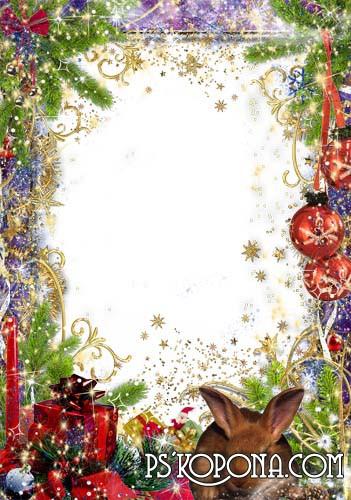 Рамка для фото –  Новогодняя свеча и кролик