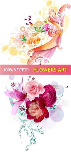 Stock vector - Art Flowers Design