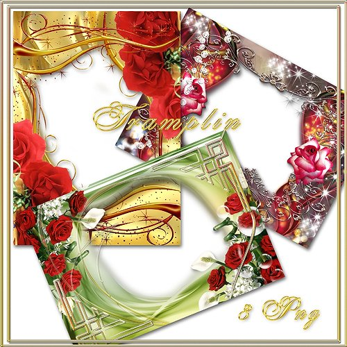 Charming 3 frames png with flowers - the flower Festival