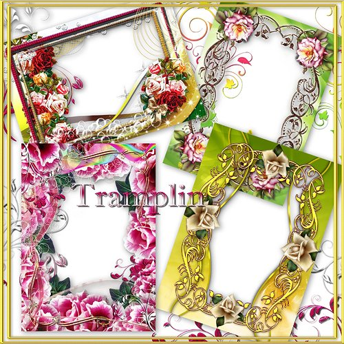 4 flower Frames png for photos free download