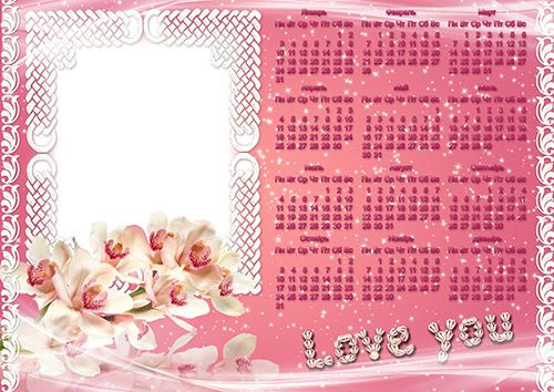 Calendar Frame - White flowers