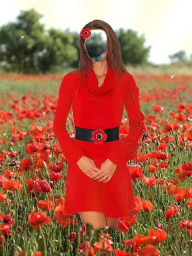 Шаблон женский Маковое поле