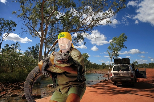 мужской шаблон для фотошопа: Охотник на крокодилов.