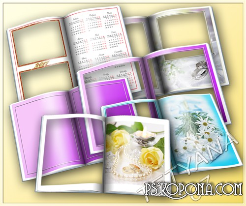6 psd Frames for Photo - Open Book ( Wedding frame psd + romantic psd frame)