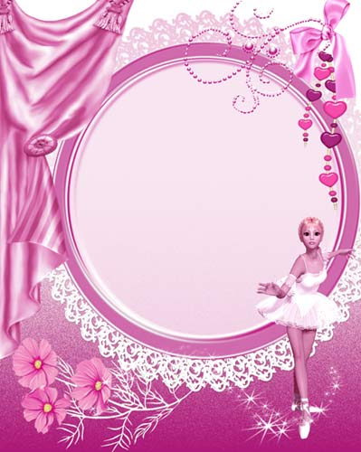 Photoshop frame for girls pink ballerina ( free photo frame psd download )