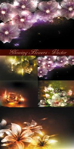 Glowing flowers - vector
