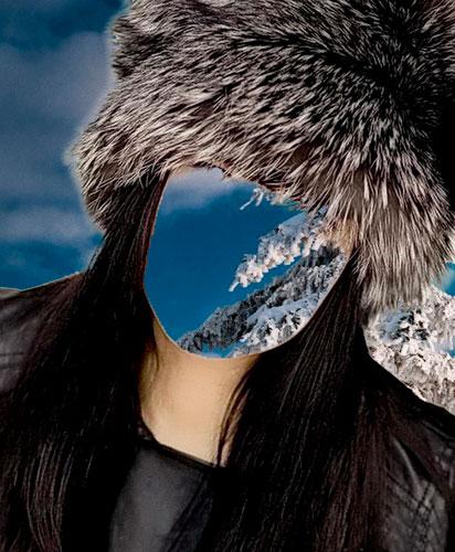 Шаблон женский-В шапке из черно-бурой лисы