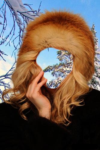 Шаблон женский-В шапке из рыжей лисы