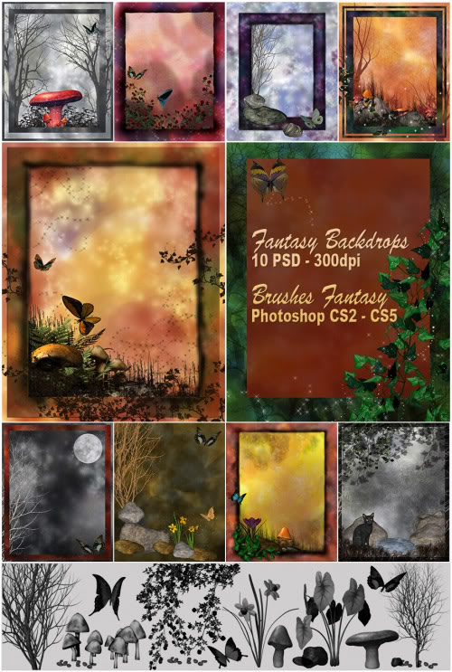 Set: Fantasy Backdrops – brushes psd Photoshop CS2-CS5