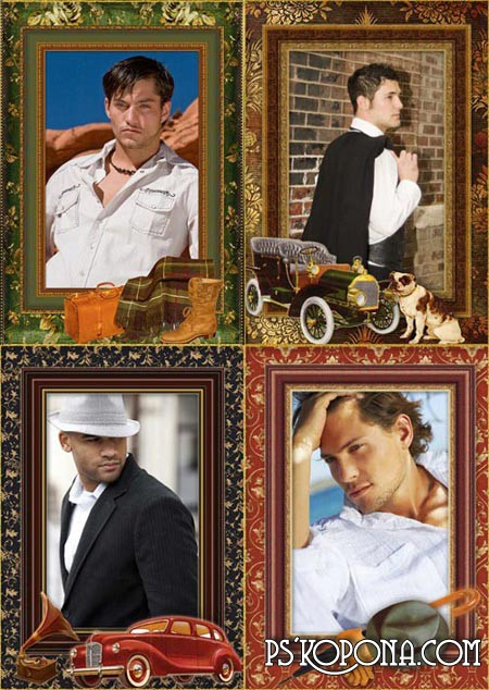 PNG Photo frames for men vintage style