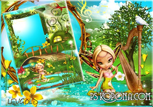 Photo frames - Elvish tale ( free children's photo frames psd download )