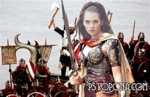 Шаблон для фотошопа - Королева воинов