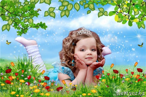 Children's photoshop template - Girl on a flower meadow