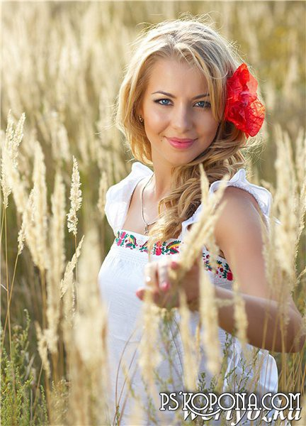 Женский шаблон - Девушка в поле