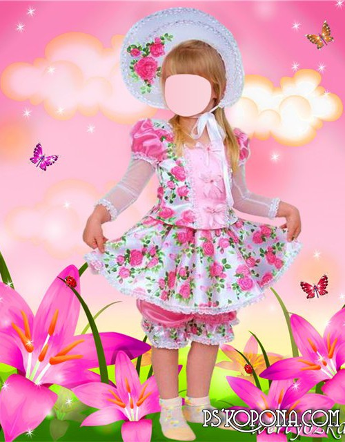 Children's template for photoshop - Little lady