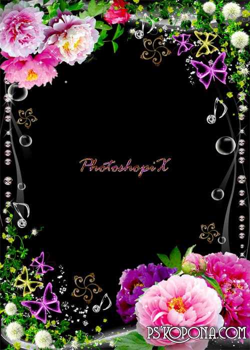 Flower border for Photoshop with bright peonies and greens