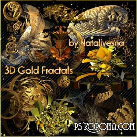 3D  Gold Fractals by Natalivesna