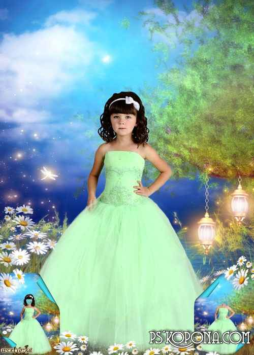 Multi-layered child's psd template - Girl in a green dress among wonderful camomiles